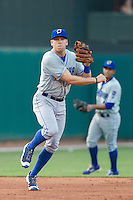 Omaha Storm Chasers third baseman Hunter Dozier (33) throws to first base during a game against the Oklahoma City Dodgers at Chickasaw Bricktown Ballpark on June 16, 2016 in Oklahoma City, Oklahoma. Oklahoma City defeated Omaha 5-4  (William Purnell/Four Seam Images)