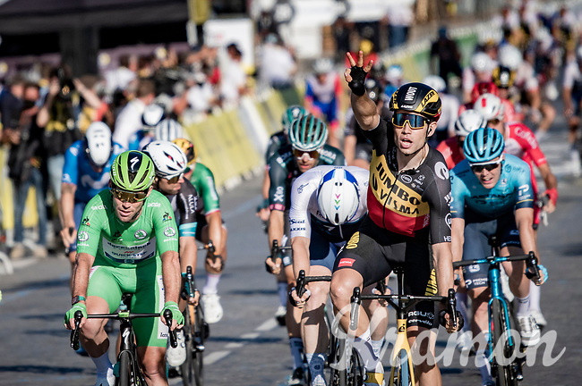 A 3rd victory in this Tour for Belgian National Champion Wout van Aert (BEL/Jumbo-Visma); this time as a winner of the bunch sprint (that keeps Mark Cavendisch from becoming the all-time stage victory champion on the Tour).<br /> <br /> Stage 21 (Final) from Chatou to Paris - Champs-Élysées (108km)<br /> 108th Tour de France 2021 (2.UWT)<br /> <br /> ©kramon