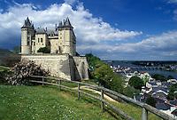 castle, France, Saumur, Loire Valley, Loire Castle Region, Pays de la Loire, Maine-et-Loire, Europe, 14th century castle along the Loire River in Saumur.