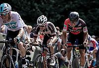 Greg Van Avermaet (BEL/BMC) biting the pain on the Kapelmuur. <br /> <br /> Binckbank Tour 2018 (UCI World Tour)<br /> Stage 7: Lac de l'eau d'heure (BE) - Geraardsbergen (BE) 212.7km
