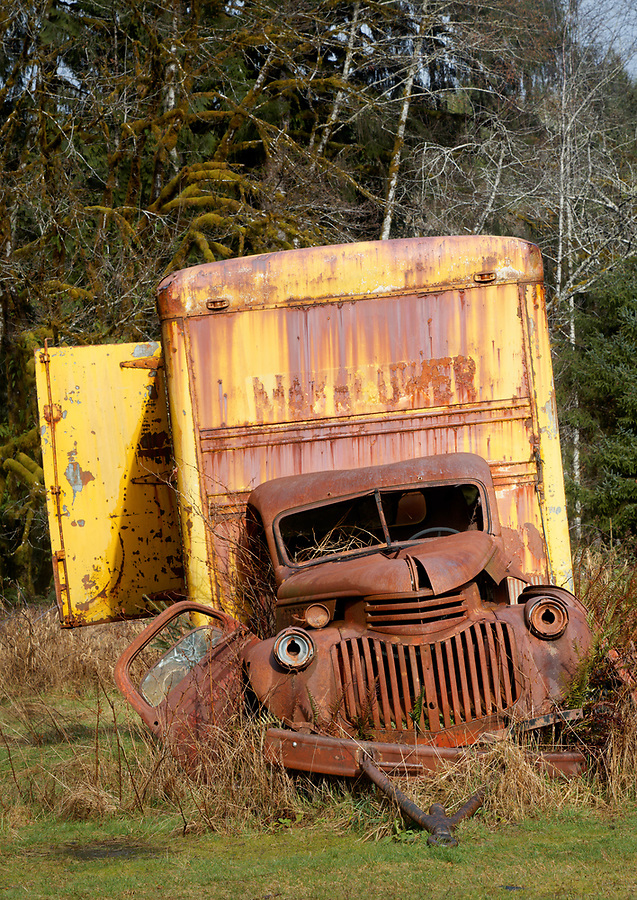 Dilapidated moving truck, Kestner-Higley Homestead, Quinault Rainforest, Olympic National Park, Jefferson County, Washington, USA