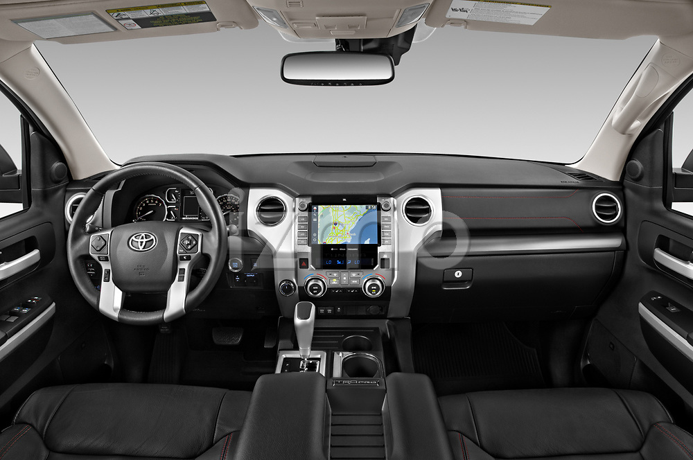 Stock photo of straight dashboard view of 2020 Toyota Tundra TRD-Pro 4 Door Pick-up Dashboard