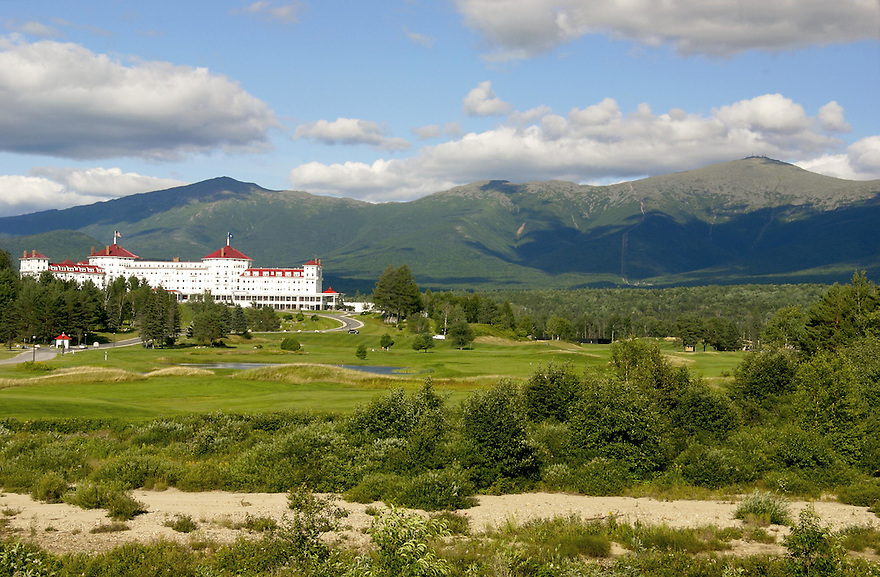 The iconic Mt Washington Hotel provides visitors with an amazing view to the Presidential Range in New Hampshires White Mountains.