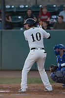 Visalia Rawhide third baseman Drew Ellis (10) at bat during a California League game against the Stockton Ports at Visalia Recreation Ballpark on May 8, 2018 in Visalia, California. Stockton defeated Visalia 6-2. (Zachary Lucy/Four Seam Images)