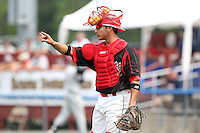Batavia Muckdogs catcher Roberto Espinoza (41) during a game vs. the Mahoning Valley Scrappers at Dwyer Stadium in Batavia, New York August 3, 2010.  Batavia defeated Mahoning Valley 8-1.  Photo By Mike Janes/Four Seam Images