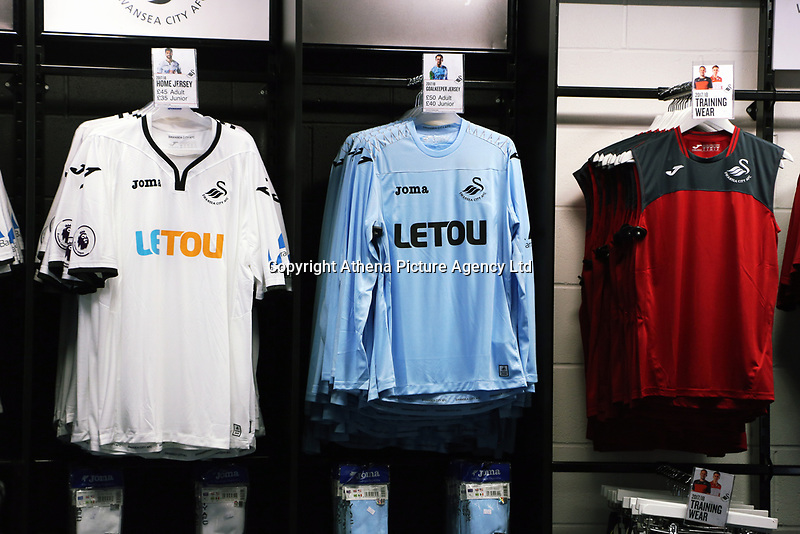 Pictured: A home, goalkeeper and training shirts. Saturday 01 July 2017<br /> Re: The new 2017-2018 season, Swansea City FC kit has officially gone on sale at the club's Liberty Stadium shop, Wales, UK