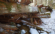 Side view of a decaying timber bridge along the abandoned Mt Washington Branch of the Boston and Maine (B&M) Railroad in the White Mountains, New Hampshire USA. The Mt Washington Branch was built by the Boston, Concord & Montreal Railroad and completed in 1876. This branch traveled from the Fabyans to the base of the Cog. The branch was closed in June 1932 (+/-)