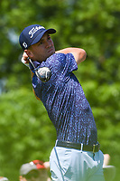 5th June 2021; Dublin, Ohio, USA; Justin Thomas (USA) watches his tee shot on 1 during the Memorial Tournament Rd3 at Muirfield Village Golf Club on June 5, 2021 in Dublin, Ohio.