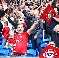 28th August 2021; Cardiff City Stadium, Cardiff, Wales;  EFL Championship football, Cardiff versus Bristol City; Bristol City fans celebrate the 1-2 win