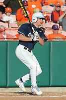 Center Fielder Chaz Frank #2 of the North Carolina Tar Heels swings at a pitch during  a game against the Clemson Tigers at Doug Kingsmore Stadium on March 9, 2012 in Clemson, South Carolina. The Tar Heels defeated the Tigers 4-3. Tony Farlow/Four Seam Images.