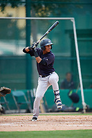 GCL Yankees West center fielder Antonio Arias (12) at bat during the second game of a doubleheader against the GCL Braves on July 30, 2018 at Champion Stadium in Kissimmee, Florida.  GCL Braves defeated GCL Yankees West 5-4.  (Mike Janes/Four Seam Images)