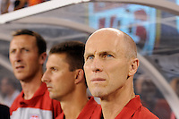 United States head coach Bob Bradley (R). The men's national team of Brazil (BRA) defeated the United States (USA) 2-0 during an international friendly at the New Meadowlands Stadium in East Rutherford, NJ, on August 10, 2010.