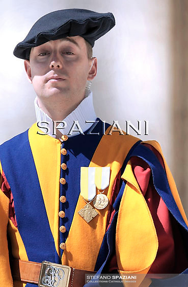Swiss Guard; Pope Benedict XVI during his weekly general audience in St. Peter square at the Vatican, Wednesday April 13,2011