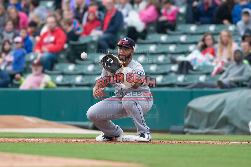 Columbus Clippers first baseman Bobby Bradley (44) during an International League game against the Indianapolis Indians on April 30, 2019 at Victory Field in Indianapolis, Indiana. Columbus defeated Indianapolis 7-6. (Zachary Lucy/Four Seam Images)