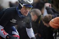 Gent-Wevelgem 2013.Greg Henderson (NZL) breathing up the Kemmelberg.