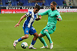 28th June 2020; RCDE Stadium, Barcelona, Catalonia, Spain; La Liga Football, Real Club Deportiu Espanyol de Barcelona versus Real Madrid; Picture show Camouzano and Sergio Ramos