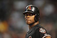 Sept. 26, 2009; Phoenix, AZ, USA; Arizona Diamondbacks outfielder Justin Upton against the San Diego Padres at Chase Field. Mandatory Credit: Mark J. Rebilas-