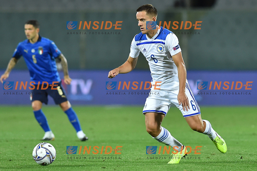 Amir Hadziahmetovic of Bosnia in action during the Uefa Nation League Group Stage A1 football match between Italy and Bosnia at Artemio Franchi Stadium in Firenze (Italy), September, 4, 2020. Photo Massimo Insabato / Insidefoto