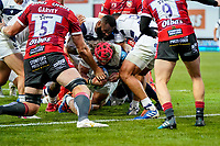 21st August 2020; Kingsholm Stadium, Gloucester, Gloucestershire, England; English Premiership Rugby, Gloucester versus Bristol Bears; Harry Thacker of Bristol scores a try for Bristol in the 20th minute for 17-0