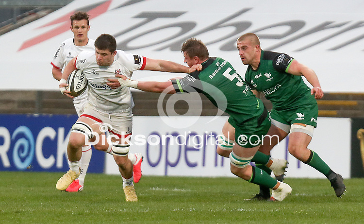 Friday 23rd April 2021; Nick Timoney is tackled by Gavin Thornbury during the first round of the Guinness PRO14 Rainbow Cup between Ulster Rugby and Connacht Rugby at Kingspan Stadium, Ravenhill Park, Belfast, Northern Ireland. Photo by John Dickson/Dicksondigital