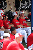Spencer Linney in the dugout during the Under Armour All-American Game Practice at Les Miller Field on August 13, 2010 in Chicago, Illinois.  (Copyright Mike Janes Photography)