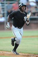 Bristol White Sox center fielder Courtney Hawkins #34 runs to first during a game against the Elizabethton Twins at Joe O'Brien Field on June 25, 2012 in Elizabethton, Tennessee. The Twins defeated the White Sox 9-1. (Tony Farlow/Four Seam Images).