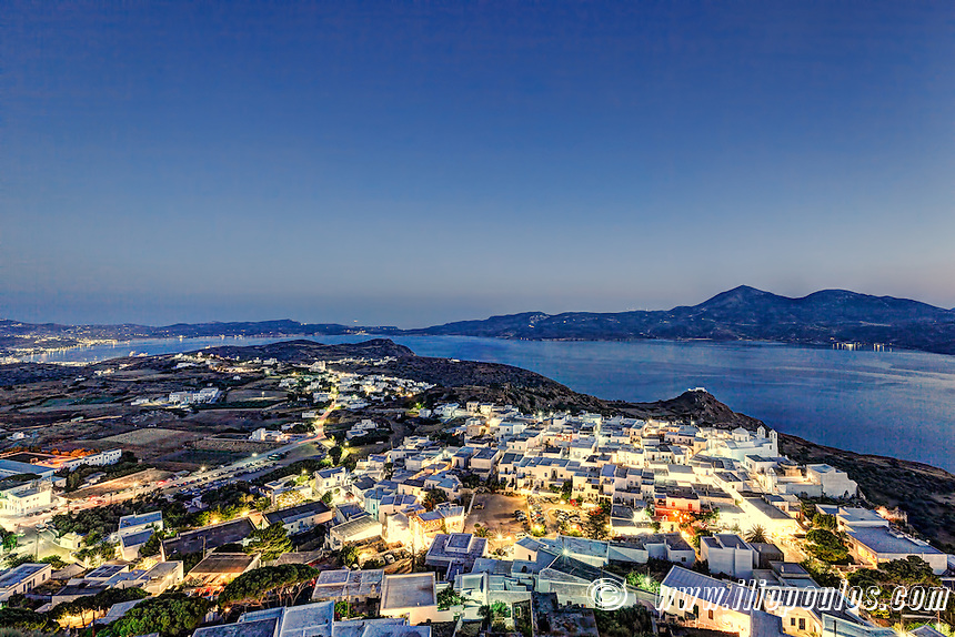 The view from the castle above the village of Plaka in Milos, Greece
