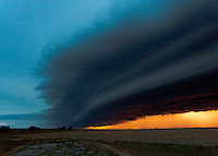 Thunderstorm Shelf Cloud at Sunset in Kansas, June 15, 2012