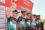 Bora-Hansgrohe at sign on before Stage 3 The Emirates Stage of the UAE Tour 2020 running 184km from Al Qudra Cycle Track to Jebel Hafeet, Dubai. 25th February 2020.<br /> Picture: LaPresse/Massimo Paolone | Cyclefile<br /> <br /> All photos usage must carry mandatory copyright credit (© Cyclefile | LaPresse/Massimo Paolone)