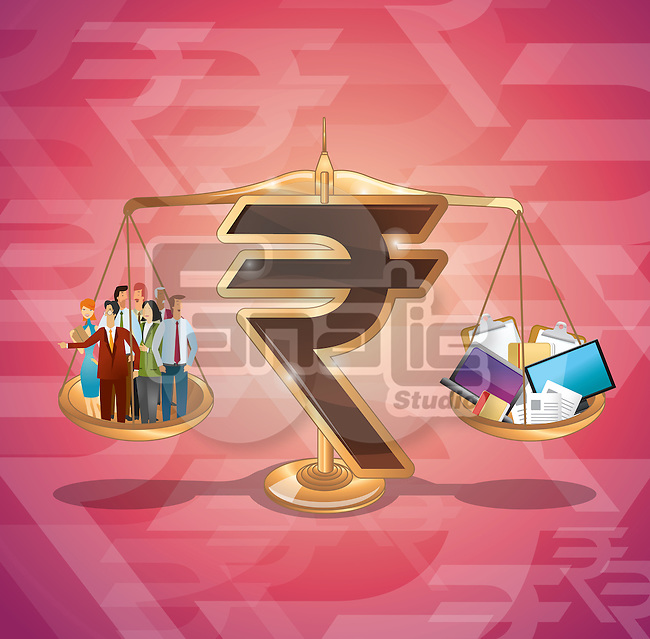 Rupee sign balancing business management