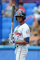 Fort Myers Miracle outfielder Byron Buxton (7) during a game against the Dunedin Blue Jays July 20, 2013 at Florida Auto Exchange Stadium in Dunedin, Florida.  Fort Myers defeated Dunedin 3-1.  (Mike Janes/Four Seam Images)