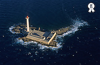 France, Marseille, Planier Island, lighthouse on island, aerial view (Licence this image exclusively with Getty: http://www.gettyimages.com/detail/sb10068805f-001 )