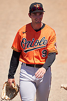 Baltimore Orioles Hudson Haskin (9) before a Minor League Spring Training game against the Detroit Tigers on April 14, 2021 at TigerTown in Lakeland, Florida.  (Mike Janes/Four Seam Images)