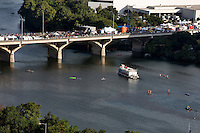 View of the Congress Avenue Bridge during Austin's annual Bat Fest, an annual festival with 3 live music stages, more than 75 arts & crafts vendors, children's activities, a bat costume contest and other family-friendly bat activities.