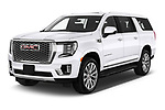 2021 GMC Yukon-XL Denali 5 Door SUV Angular Front automotive stock photos of front three quarter view