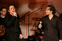 Former Formula One World Champion Jacques Villeneuve launch First Date. ...<br />  his first music album, February 19 2007 at NEWTOWN ; his Montreal nightclub and restaurant.<br /> <br /> He he seen here singing a song  with his sister about  their late father : Formula One driver GILLES VILLENEUVE<br /> <br /> photo : Pierre Roussel (c)  Images Distribution