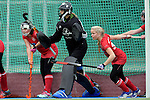 GER - Mannheim, Germany, October 25: During the final at the Deutsche Meisterschaft WJB between Mannheimer HC (blue) and Bremer HC (red) on October 25, 2015 at Mannheimer Hockey Club in Mannheim, Germany. (Photo by Dirk Markgraf / www.265-images.com) *** Local caption ***