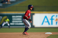 Carlos Paraguate (16) of the Rome Braves takes his lead off of second base against the Columbia Fireflies at Segra Park on May 13, 2019 in Columbia, South Carolina. The Fireflies walked-off the Braves 2-1 in game one of a doubleheader. (Brian Westerholt/Four Seam Images)