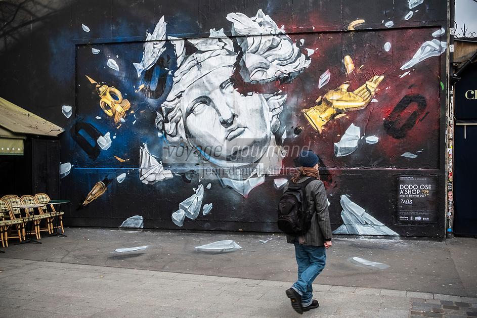 """Europe /France /le de Fance /Paris :  Europe/ Ile de France / Paris /75011 : Le mur d'Oberkampf, ce pari fou devenu une institution du street art parisien  sur l'immeuble de l'historique Café Charbon, L'association le M.U.R. (modulable, urbain, réactif)                      Dodo Ose, membre du collectif montréalais A'Shop a pris possession du Mur Oberkampf . Bleu, blanc, rouge, comme la devise républicaine : Liberté, Egalité, Fraternité.<br /> Libre interprétation du tableau d'Eugène Delacroix, La liberté guidant le peuple, ou représentation d'une Marianne écartelée,  - OP Oeuvre Protégée //  Europe / France / le de Fance / Paris: Europe / Ile de France / Paris / 75011: The wall of Oberkampf, this crazy bet become an institution of Parisian street art on the building of the historic Café Charbon, The association the wall (modular, urban, responsive) Dodo Ose, member of the Montreal collective A'Shop, took possession of the Oberkampf Wall. Blue, white, red, like the republican motto: Liberty, Equality, Fraternity.<br /> Free interpretation of the painting by Eugène Delacroix, Liberty guiding the people, or representation of a quartered Marianne, sole guardian: """"real bond between the bean and the corn"""". make it particularly digestible - OP Protected work /"""