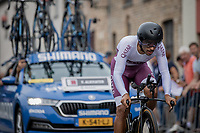 Alkather Fadhel (QAT)<br /> <br /> 88th UCI Road World Championships 2021 – ITT (WC)<br /> Men's Elite Time trial from Knokke-Heist to Brugge (43.3km)<br /> <br /> ©Kramon
