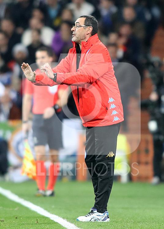 SSC Napoli's coach Maurizio Sarri during Champions League 2016/2017 Round of 16 1st leg match. February 15,2017. (ALTERPHOTOS/Acero)