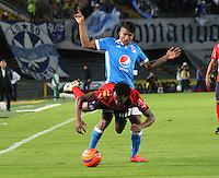 BOGOTA -COLOMBIA, 5-02-2017. Harold Mosquera (R) player of Millonarios  fights for the ball with Didier Moreno (L) player of Independiente Medellin  during match for the date 1 of the Aguila League I 2017 played at Nemesio Camacho El Campin stadium . Photo:VizzorImage / Felipe Caicedo  / Staff