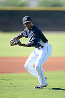 Seattle Mariners infielder Erick Mejia (22) during practice before an Instructional League game against the Milwaukee Brewers on October 4, 2014 at Peoria Stadium Training Complex in Peoria, Arizona.  (Mike Janes/Four Seam Images)