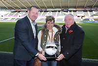 Match ball sponsors prior to the Premier League match between Swansea City and Manchester United at The Liberty Stadium, Swansea, Wales, UK. Sunday 06 November 2016