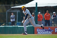 West Virginia Mountaineers pinch-runner Alec Burns (44) takes off for second base during the game against the Illinois Fighting Illini at TicketReturn.com Field at Pelicans Ballpark on February 23, 2020 in Myrtle Beach, South Carolina. The Fighting Illini defeated the Mountaineers 2-1.  (Brian Westerholt/Four Seam Images)