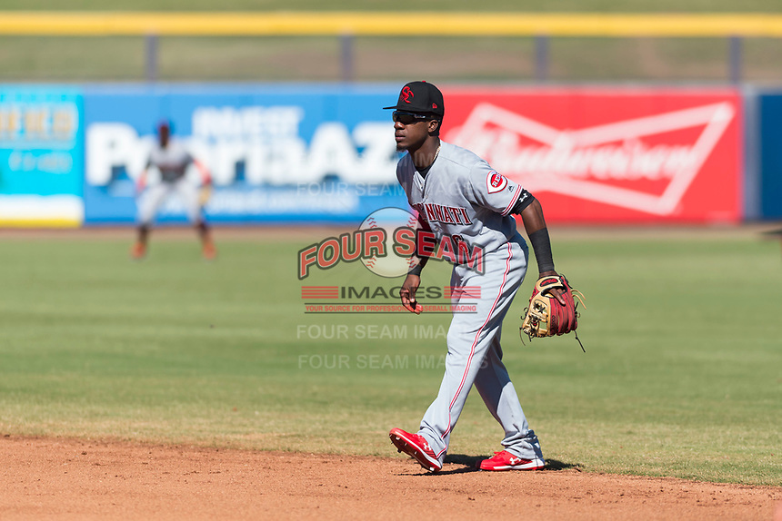 Scottsdale Scorpions second baseman Shed Long (6), of the Cincinnati Reds organization, during an Arizona Fall League game against the Peoria Javelinas at Peoria Sports Complex on October 18, 2018 in Peoria, Arizona. Scottsdale defeated Peoria 8-0. (Zachary Lucy/Four Seam Images)