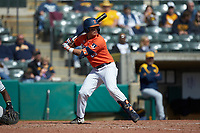 BrandenComia (23) of the Illinois Fighting Illini at bat against the West Virginia Mountaineers at TicketReturn.com Field at Pelicans Ballpark on February 23, 2020 in Myrtle Beach, South Carolina. The Fighting Illini defeated the Mountaineers 2-1.  (Brian Westerholt/Four Seam Images)