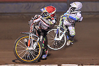 Heat 4: Rory Schlein (red) and Justin Sedgmen (white) - Lee Richardson Memorial Speedway Meeting at Arena Essex Raceway, Purfleet - 28/09/12 - MANDATORY CREDIT: Gavin Ellis/TGSPHOTO - Self billing applies where appropriate - 0845 094 6026 - contact@tgsphoto.co.uk - NO UNPAID USE.