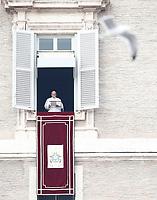 Papa Francesco recita l'Angelus affacciato su piazza San Pietro dalla finestra del suo studio. Citta' del Vaticano, 26 dicembre, 2017.<br /> Pope Francis recites the Angelus noon prayer from the window of his studio overlooking St. Peter's Square, at the Vatican, on December 26, 2017.<br /> UPDATE IMAGES PRESS/Isabella Bonotto<br /> STRICTLY ONLY FOR EDITORIAL USE
