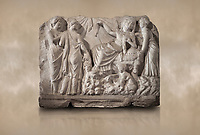 Roman relief sculpture of the Birth of Apollo. Roman 2nd century AD, Hierapolis Theatre.. Hierapolis Archaeology Museum, Turkey. Against an art background